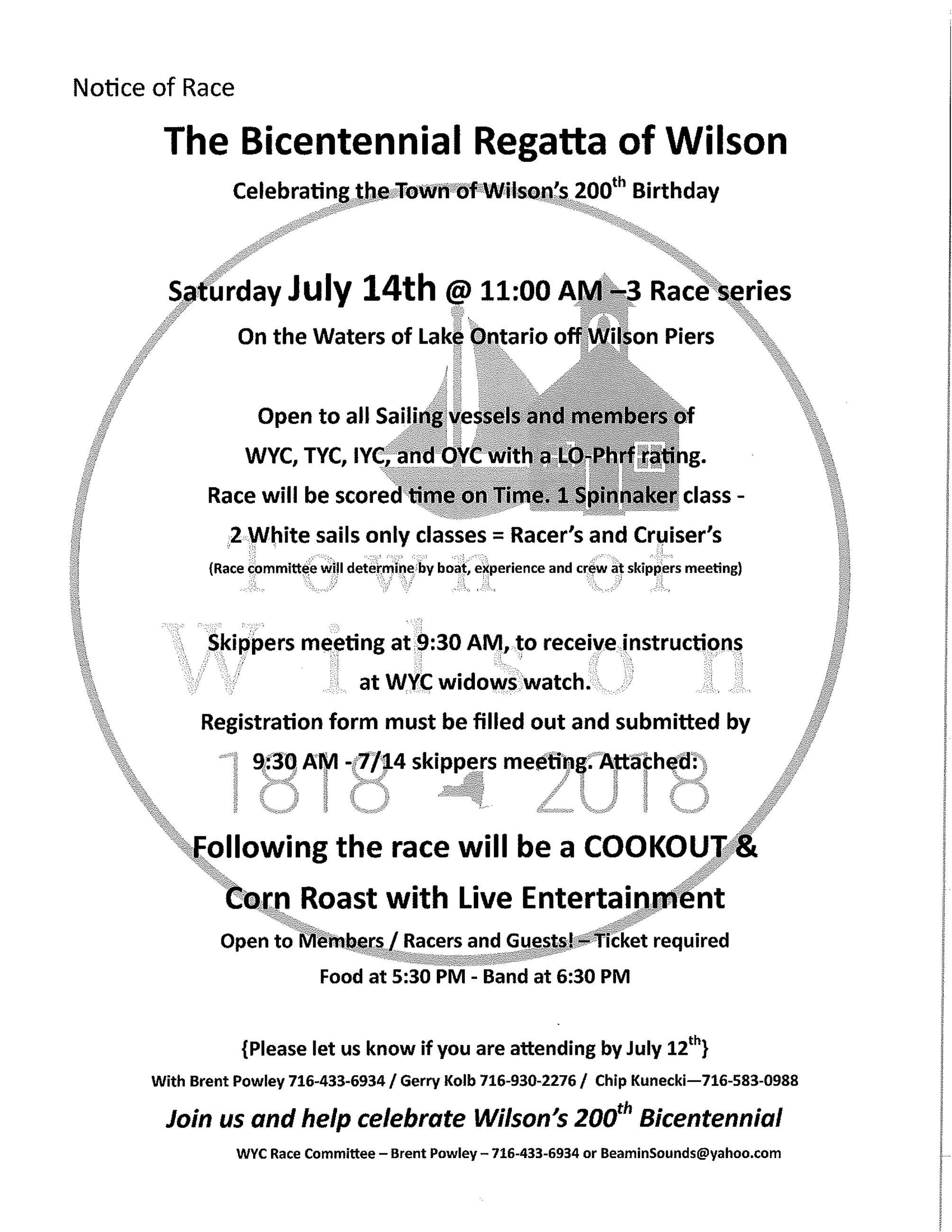 Bicentennial Regatta  of Wilson July 14th 2018